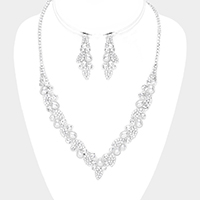 Pearl Crystal Rhinestone Pave Leaf Cluster V Collar Necklace