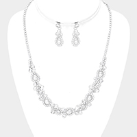 Pearl Accented Crystal Rhinestone Pave Necklace