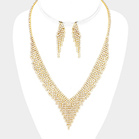 Crystal Rhinestone Pave Fringe Necklace