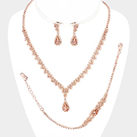 3PCS Rhinestone Pave Crystal Teardrop Dangle Necklace Set