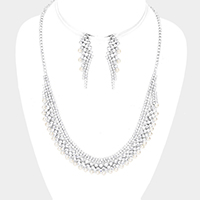Pearl Detail Curved Crystal Rhinestone Pave Necklace