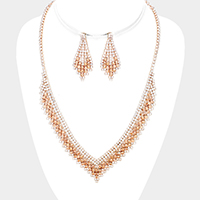Crystal Bubble Cluster V Collar Necklace