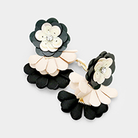Sequin Flower Accented Fabric Petal Clip on Earrings