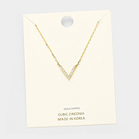 Gold Dipped Cubic Zirconia Chevron Pendant Necklace