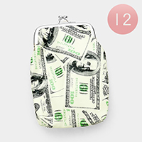 12PCS - 100Dollar Print Coin Clasp Purses