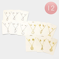 12PCS - Mixed Stainless Steel Pendant Necklace Earring Set