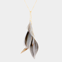 Layered Feather Pendant Long Necklace