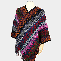 Multi Color Tassel Fringe Poncho