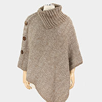 Coconut Button Deco Cape Poncho