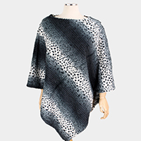 Leopard Patterned Faux Fur Poncho