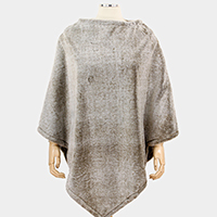 Two Tone Faux Fur Poncho