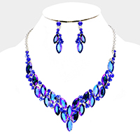 Colored Flower Oval Crystal Cluster Vine Bib Necklace
