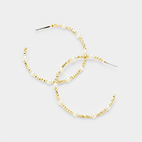 Cube Metal Beaded Pearl Accented Hoop Earrings
