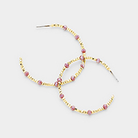 Cube Metal Beaded Faceted Bead Accented Hoop Earrings