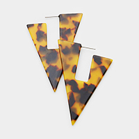 Tortoise Geometric Celluloid Acetate Triangle Earrings