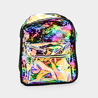 Reversible Sequin Transparent Hologram Pocket Back Pack