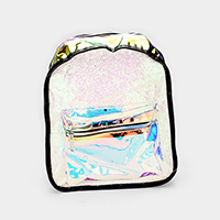 Sequin Transparent Hologram Front Pocket Detail Back Pack