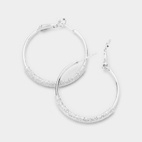 Frosted Detail Metal Hoop Earrings