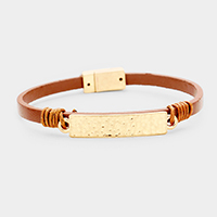 Leather Metal Rectangle Accented Magnetic Bracelet