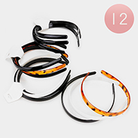 12PCS - Mixed Resin Tortoise Headbands