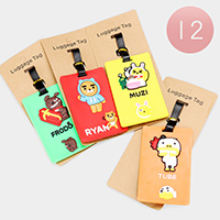 12PCS - Cute Animal Character Luggage Tags
