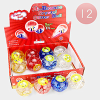 12PCS - Emoji Lighting Bouncy Ball Kids Toy