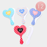 12Pairs - My Girl Heart Shaped Mirror Comb Set