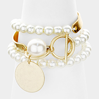 Metal Disc Dangling Pearl Wrap Stretch Bracelet