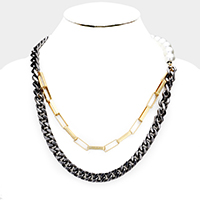 Pearl Double Strand Metal Chain Bib Necklace
