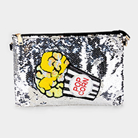 Sequin Pop Art Pop Corn Crossbody Clutch Bag