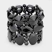 Crystal Stone Cluster Evening Stretch Bracelet