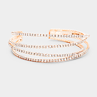 Twisted 4Row Split Layer Crystal Pave Evening Cuff Bracelet