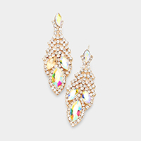 Oval Crystal Accented Leaf Evening Earrings