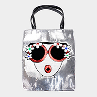 Sequin Pop Art Sunglasses Woman Tote Bag