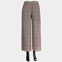 Glen Check Band Pleated Culotte Pants