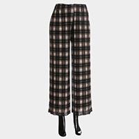 Plaid Check Band Pleated Culotte Pants
