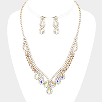 Rhinestone Pave Crystal Teardrop Accented Necklace