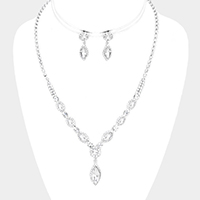Rhinestone Pave Crystal Oval Detail Dangle Necklace