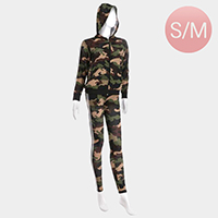 Camouflage Side Double Stripe Detail Track Jacket Pants Set