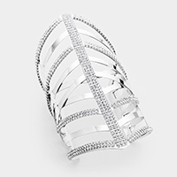 Wide Crystal Embellished Cut Out Cage Cuff Bracelet