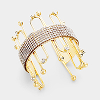 Geometric Crystal Embellished Accented Cuff Bracelet