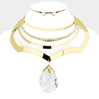 Crystal Teardrop Ornate Choker Necklace