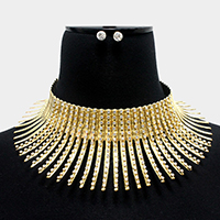Curved Crystal Embellished Metal Bar Fringe Armor Necklace