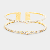 Crystal Pave Cut Out Cage Evening Cuff Bracelet