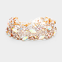 Oval Crystal Accented Rhinestone Pave Evening Bracelet