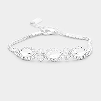 Triple Oval Crystal Detail Rhinestone Pave Evening Bracelet