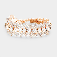 Rhinestone Pave Bubble Crystal Accented Evening Bracelet