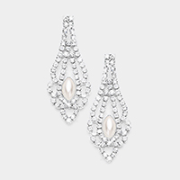 Oval Pearl Accented Crystal Pave Chandelier Evening Earrings