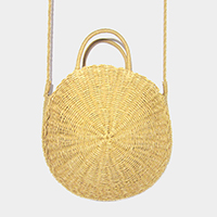 Soft Straw Round Crossbody Tote Bag