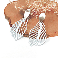 Colored Metal Cut Out Leaf Clip on Earrings